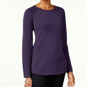 Karen Scott Small Purple Textured Pullover 4Z57